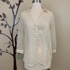 The Limited S Sparkle Semi Sheer Henley Top Ivory